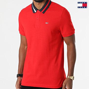 https://laboutiqueofficielle-res.cloudinary.com/image/upload/v1627651009/Desc/Watermark/3logo_tommy_jeans.svg Tommy Jeans - Polo Manches Courtes Flag Neck 6576 Rouge