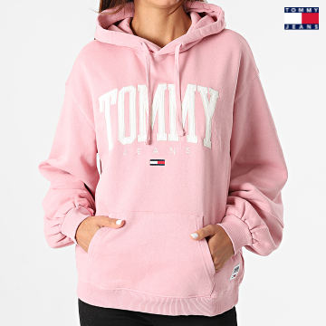 https://laboutiqueofficielle-res.cloudinary.com/image/upload/v1627651009/Desc/Watermark/3logo_tommy_jeans.svg Tommy Jeans - Sweat Capuche Femme Collegiate 2102 Rose