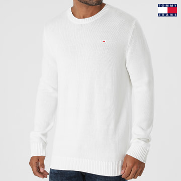 https://laboutiqueofficielle-res.cloudinary.com/image/upload/v1627651009/Desc/Watermark/3logo_tommy_jeans.svg Tommy Jeans - Pull Essential Crew Neck 1856 Blanc