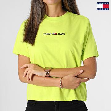 https://laboutiqueofficielle-res.cloudinary.com/image/upload/v1627651009/Desc/Watermark/3logo_tommy_jeans.svg Tommy Jeans - Tee Shirt Femme Linear Logo 0057 Vert Anis