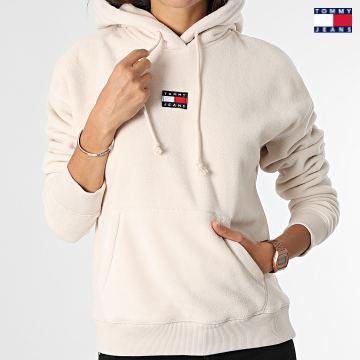 https://laboutiqueofficielle-res.cloudinary.com/image/upload/v1627651009/Desc/Watermark/3logo_tommy_jeans.svg Tommy Jeans - Sweat Capuche Femme Center Badge Fleece 1043 Beige