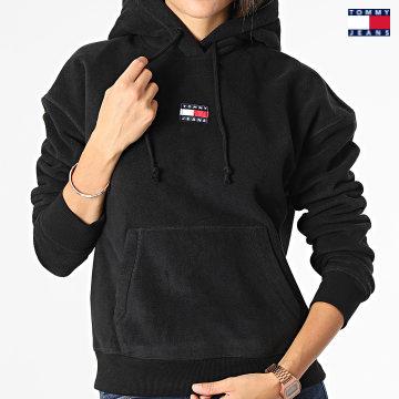 https://laboutiqueofficielle-res.cloudinary.com/image/upload/v1627651009/Desc/Watermark/3logo_tommy_jeans.svg Tommy Jeans - Sweat Capuche Femme Center Badge Fleece 1043 Noir