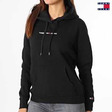 https://laboutiqueofficielle-res.cloudinary.com/image/upload/v1627651009/Desc/Watermark/3logo_tommy_jeans.svg Tommy Jeans - Sweat Capuche Femme Linear Logo 0132 Noir