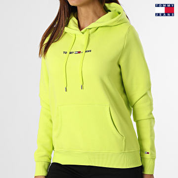 https://laboutiqueofficielle-res.cloudinary.com/image/upload/v1627651009/Desc/Watermark/3logo_tommy_jeans.svg Tommy Jeans - Sweat Capuche Femme Linear Logo 0132 Vert Fluo