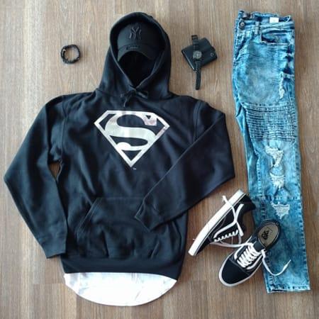 Superman - Sweat Capuche Superman Noir Logo Argent