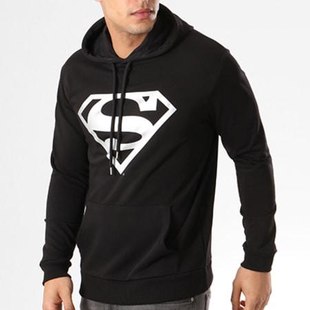 Sweat Capuche Superman Noir Logo Argent