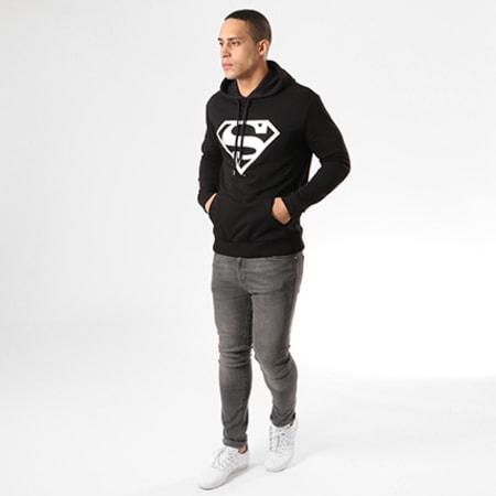 DC Comics - Sweat Capuche Superman Noir Logo Argent
