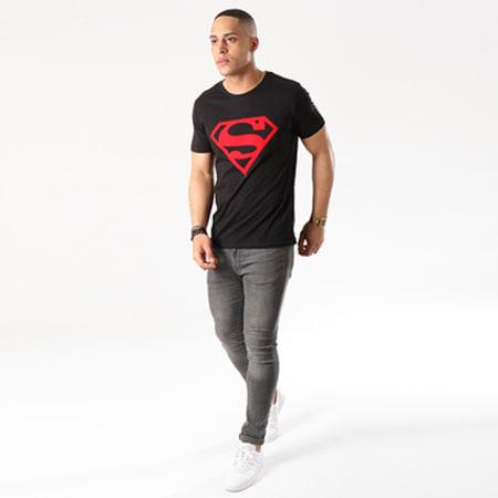 Superman - Tee Shirt Red Logo Noir