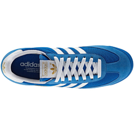 baskets adidas dragon bleu bandes blanc