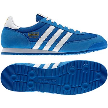 adidas - Baskets Adidas Dragon Bleu Bandes Blanc ...