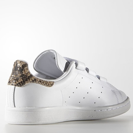 adidas - Baskets Femme adidas Stan Smith Blanc Snake Doré ...