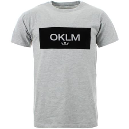OKLM - Tee Shirt Small Crown Gris Typo Noir