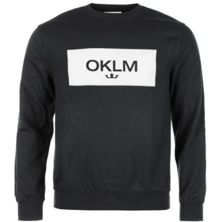 OKLM - Sweat Crewneck Small Crown Noir Typo Blanc