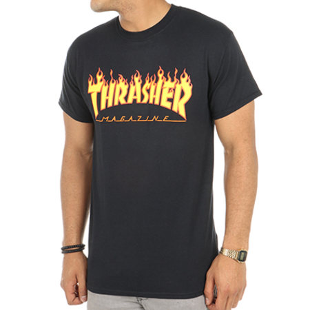Thrasher - Tee Shirt Flame Noir