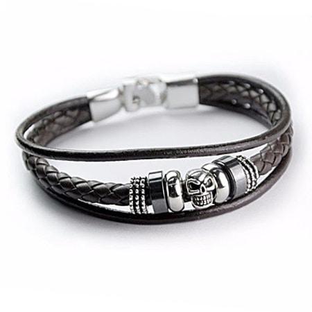 California Jewels - Bracelet Leather Skull Marron