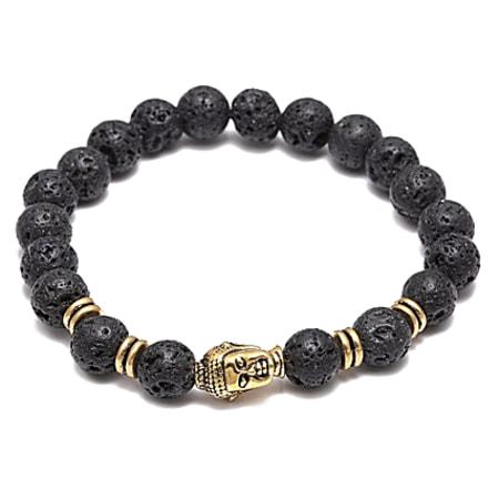 California Jewels - Bracelet Lava Stones Bouddha Noir