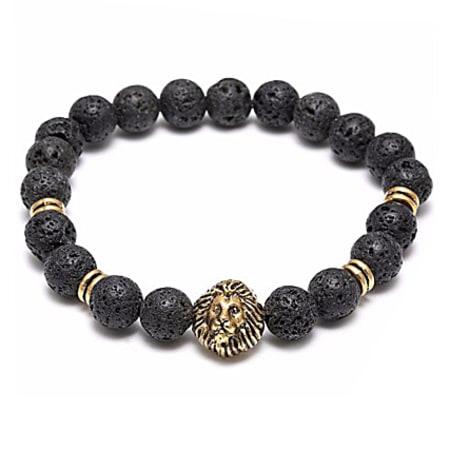 California Jewels - Bracelet Lava Stones Lion Noir