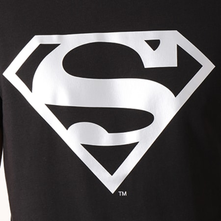 Superman - Tee Shirt Superman Logo Argent Noir