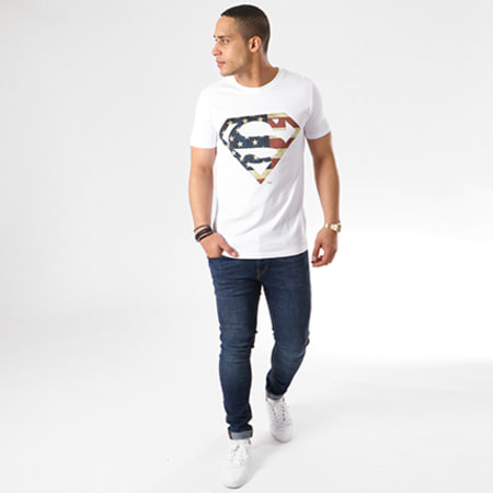 Superman - Tee Shirt Superman America Logo Blanc