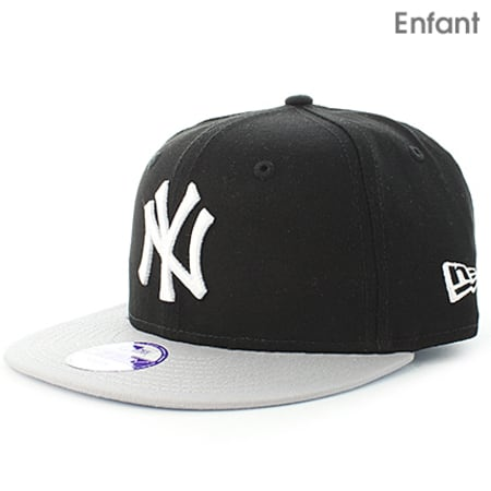 New Era - Casquette Snapback Enfant MLB Cotton Block New York Yankees Noir Gris