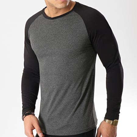 LBO - Tee Shirt Manches Longues Raglan 48-1 Noir Gris Anthracite