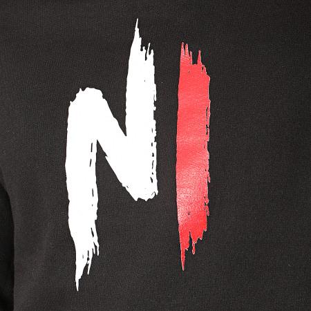 Ninho - Sweat Capuche Ninho Noir Logo Rouge Blanc
