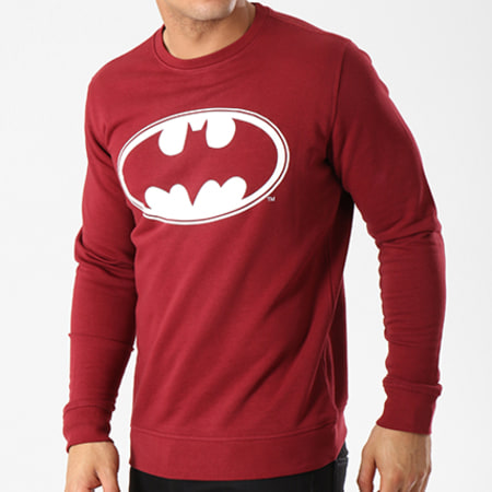 Batman - Sweat Crewneck Logo Bordeaux Blanc