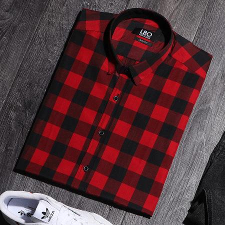 LBO - Chemise Manches Longues Slim Fit 159 Carreaux Noir Rouge