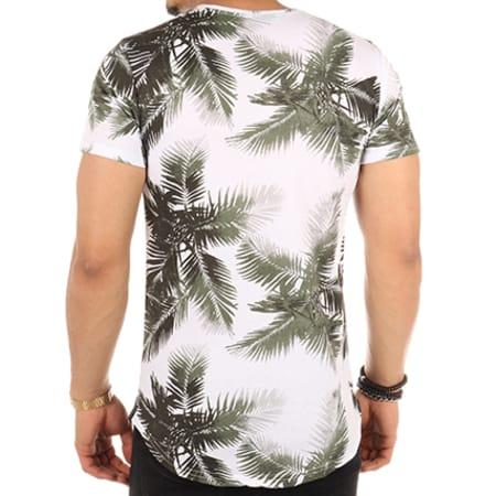 Uniplay - Tee Shirt Oversize T153 Floral Blanc Vert Kaki