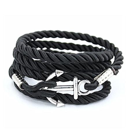 California Jewels - Bracelet Anchor Wrap Rope Noir