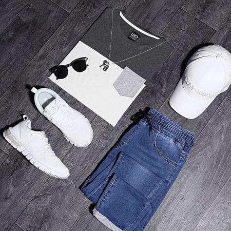 LBO - Tee Shirt Poche 191 Gris Anthracite Blanc