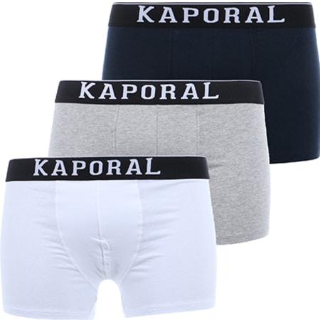 Kaporal - Lot De 3 Boxers Quad Noir Blanc Gris Chiné