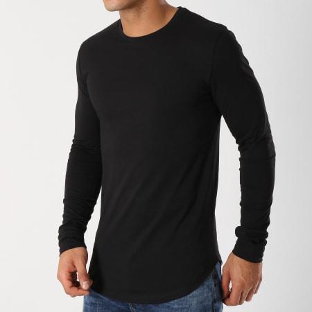 LBO - Lot De 2 Tee Shirts Oversize Manches Longues Unis 340 Noir Et Blanc