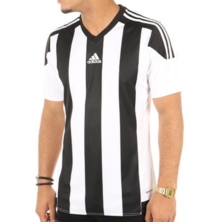 adidas - Tee Shirt De Sport Striped 15 Jersey M62777 Noir Blanc