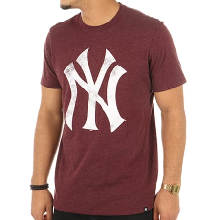 '47 Brand - Tee Shirt New York Yankees 304869 Bordeaux Chiné