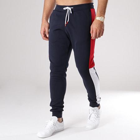 LBO - Pantalon Jogging Poly 305 Bleu Marine Bandes Blanc et Rouge