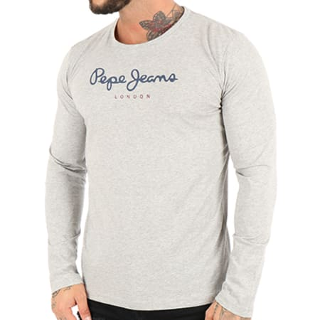 Pepe Jeans - Tee Shirt Manches Longues Eggo Gris Chiné