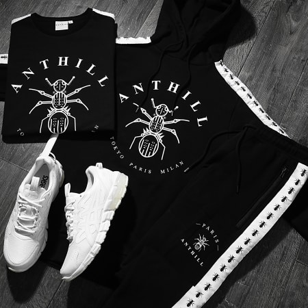 Anthill - Sweat Capuche Bandes Brodées Tape Noir