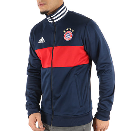 adidas Veste Zippée FC Bayern Munchen 3 Stripes CF177 Bleu