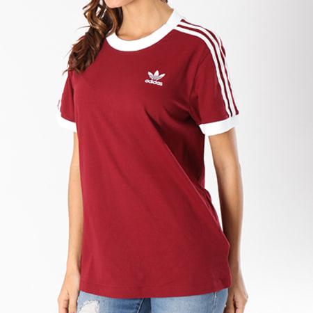 adidas Tee Shirt Femme 3 Stripes CY4752 Bordeaux