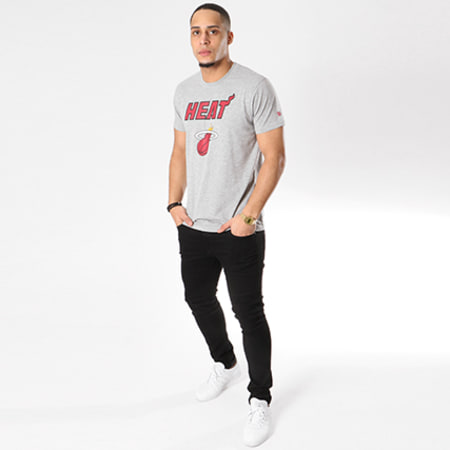 New Era - Tee Shirt Team Logo NBA Miami Heat Gris Chiné