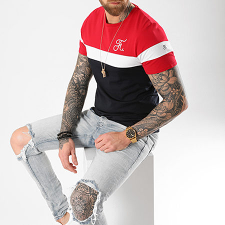 Final Club - Tee Shirt Tricolore Avec Broderie 008 Bleu Blanc Rouge