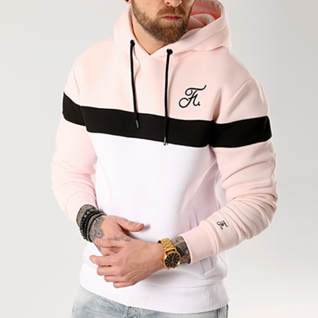 Final Club - Sweat Capuche Tricolore Avec Broderie 035 Blanc Noir Rose