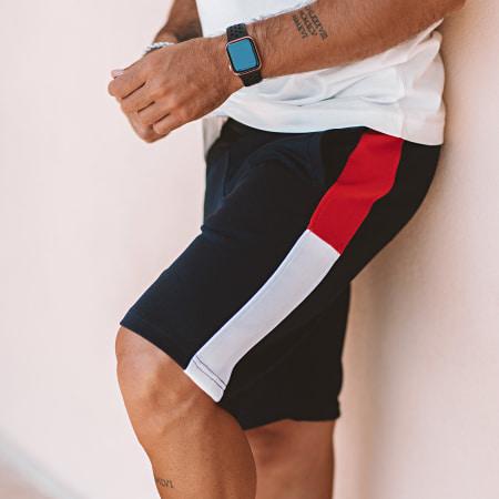 LBO - Short Jogging Poly 392 Bleu Marine Bandes Rouge Blanc