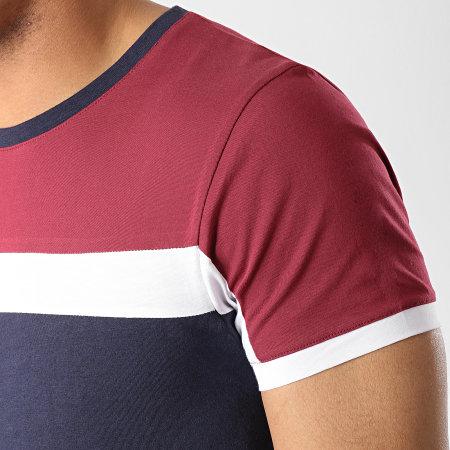 LBO - Tee Shirt Tricolore 411 Bleu Marine Blanc Bordeaux