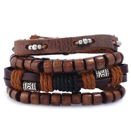 California Jewels - Lot De 4 Bracelets TZ095 Noir Marron