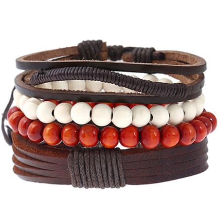 California Jewels - Lot De 3 Bracelets TZ072 Marron Blanc Rouge