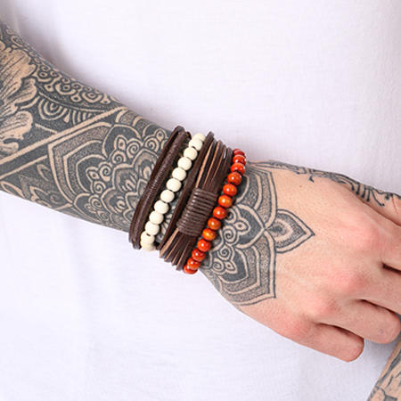 California Jewels - Lot De 3 Bracelets Shore Marron Blanc Rouge