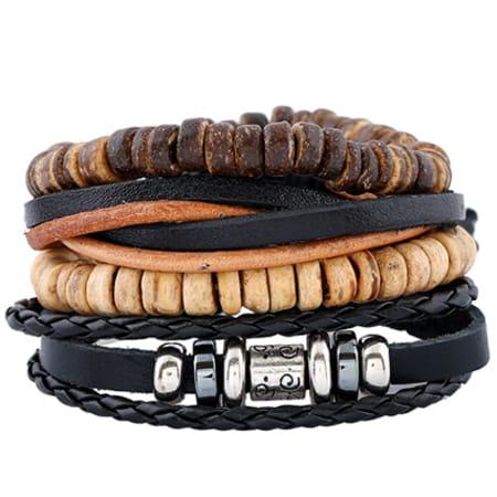 California Jewels - Lot De 4 Bracelets TZ052  Noir Marron