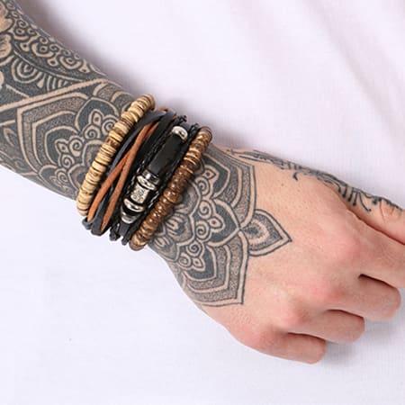California Jewels - Lot De 4 Bracelets Mix Noir Marron